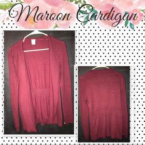 Maroon L Cardigan